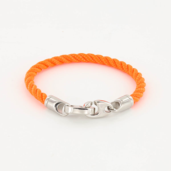 Elsewhere Single Wrap Rope Bracelet with Stainless Steel Brummels in buoy orange