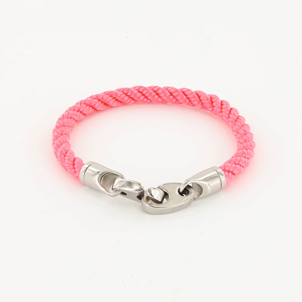 Elsewhere Single Wrap Rope Bracelet with Stainless Steel Brummels in bikini pink