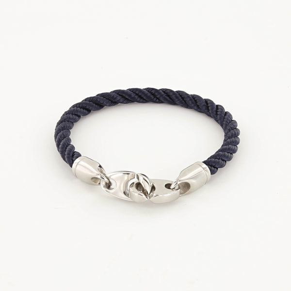 Elsewhere Single Wrap Rope Bracelet with Stainless Steel Brummels in navy