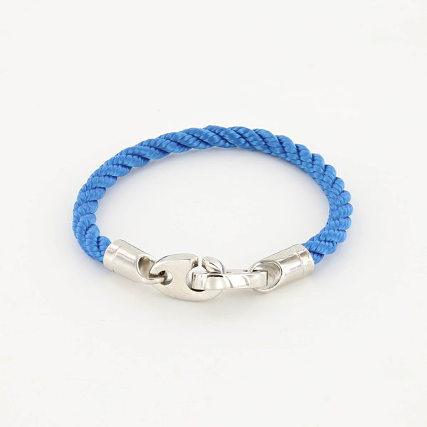 Elsewhere Single Wrap Rope Bracelet with Stainless Steel Brummels in ocean blue