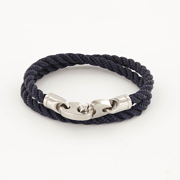 Elsewhere Double Wrap Rope Bracelet with Stainless Steel Brummels in navy