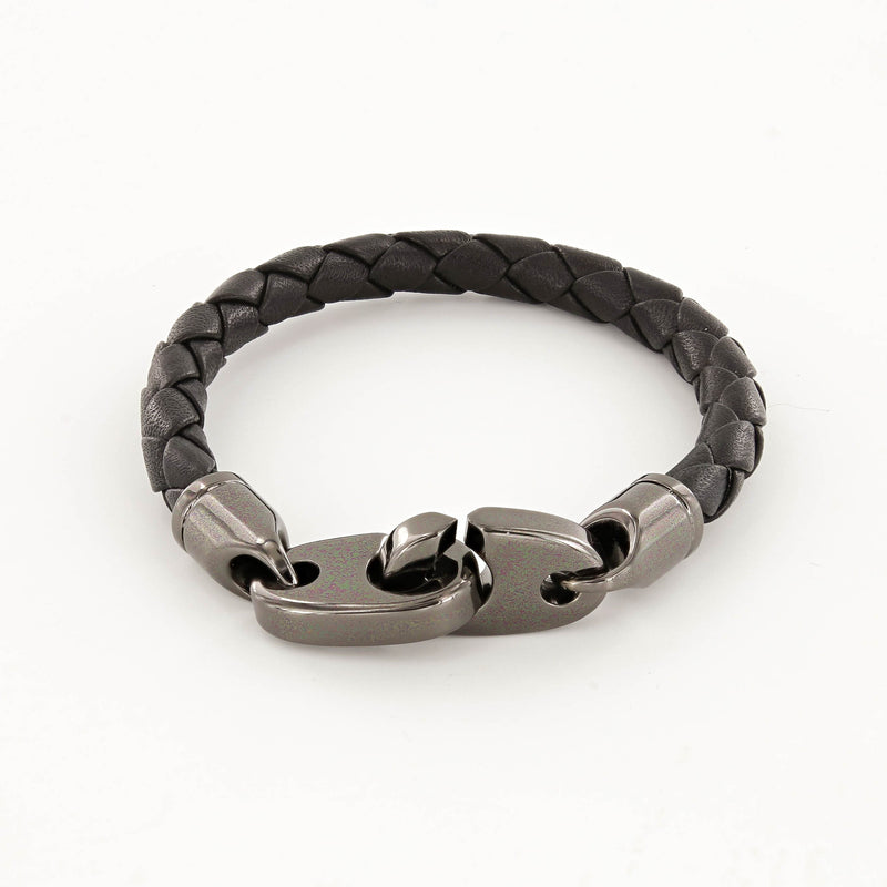 Commander Big Brummel Bracelet with Leather Wrap in Nickel Antique and Black
