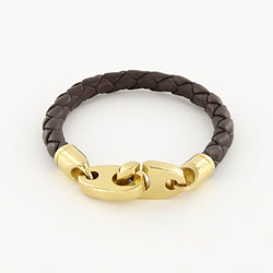 Commander Big Brummel Bracelet with Leather Wrap in Polished Brass and Brown