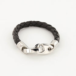 Commander Big Brummel Bracelet with Leather Wrap in Polished Stainless Steel and Black