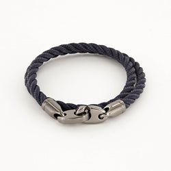 Player Double Wrap Rope Bracelet with Nickel Antique Brummels in Navy