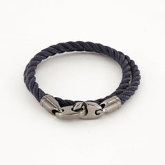 Player Double Wrap Rope Bracelet with Nickel Antique Brummels