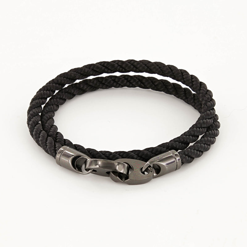mens player rope bracelet in black