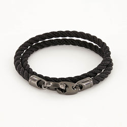 Player Double Wrap Rope Bracelet with Nickel Antique Brummels in Black