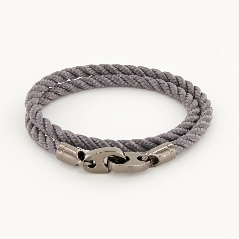 Player Double Wrap Rope Bracelet with Nickel Antique Brummels in Charcoal Gray