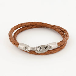 Catch Double Wrap Leather Bracelet with Matte Stainless Steel Brummels in Baked Brown