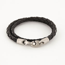 Catch Double Wrap Leather Bracelet with Matte Stainless Steel Brummels in Black