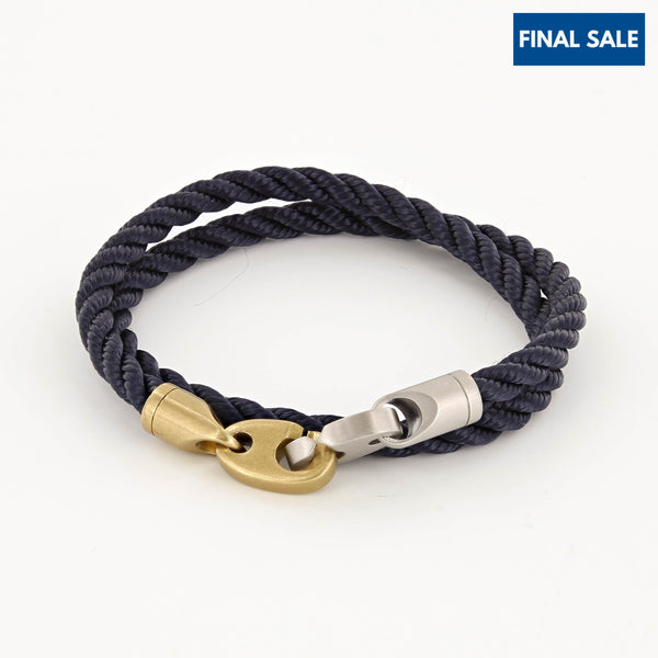 Brak Double Wrap Rope Bracelet with Matte Brass and Matte Stainless Steel Brummels in Navy