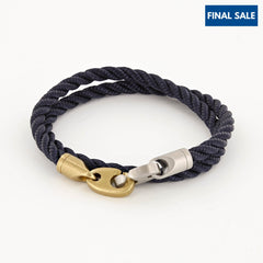 Brak Double Wrap Rope Bracelet with Matte Brass and Matte Stainless Steel Brummels
