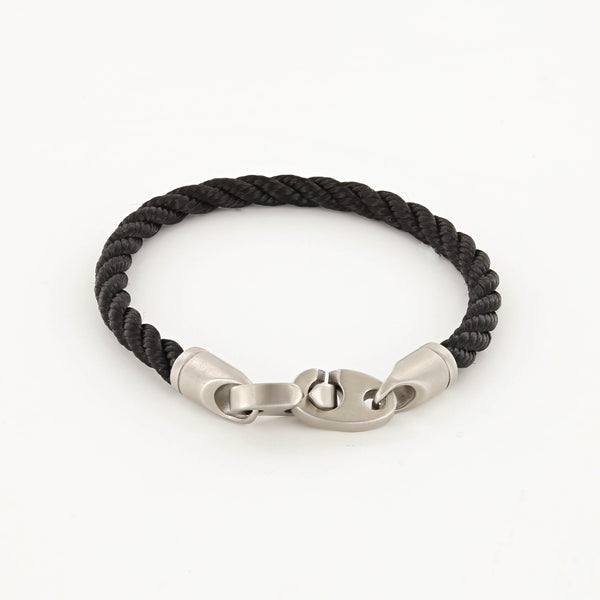 Catch Single Wrap Rope Bracelet with Matte Stainless Steel Brummels