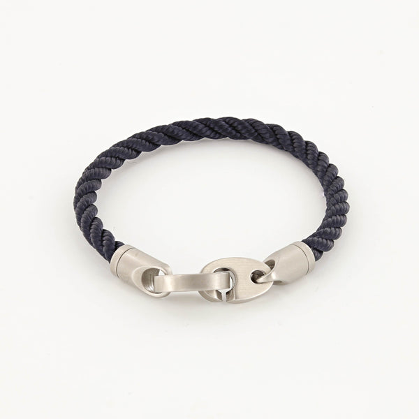 Catch Single Wrap Rope Bracelet with Matte Stainless Steel Brummels in Navy