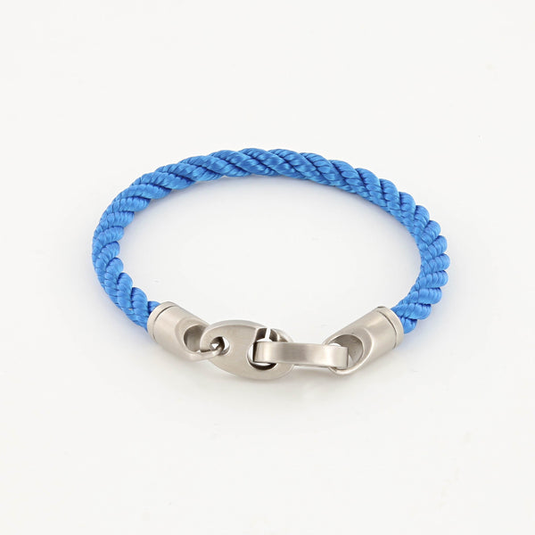 Catch Single Wrap Rope Bracelet with Matte Stainless Steel Brummels in Ocean Blue