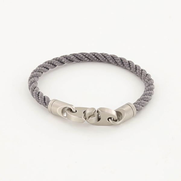 Catch Single Wrap Rope Bracelet with Matte Stainless Steel Brummels in Charcoal Gray