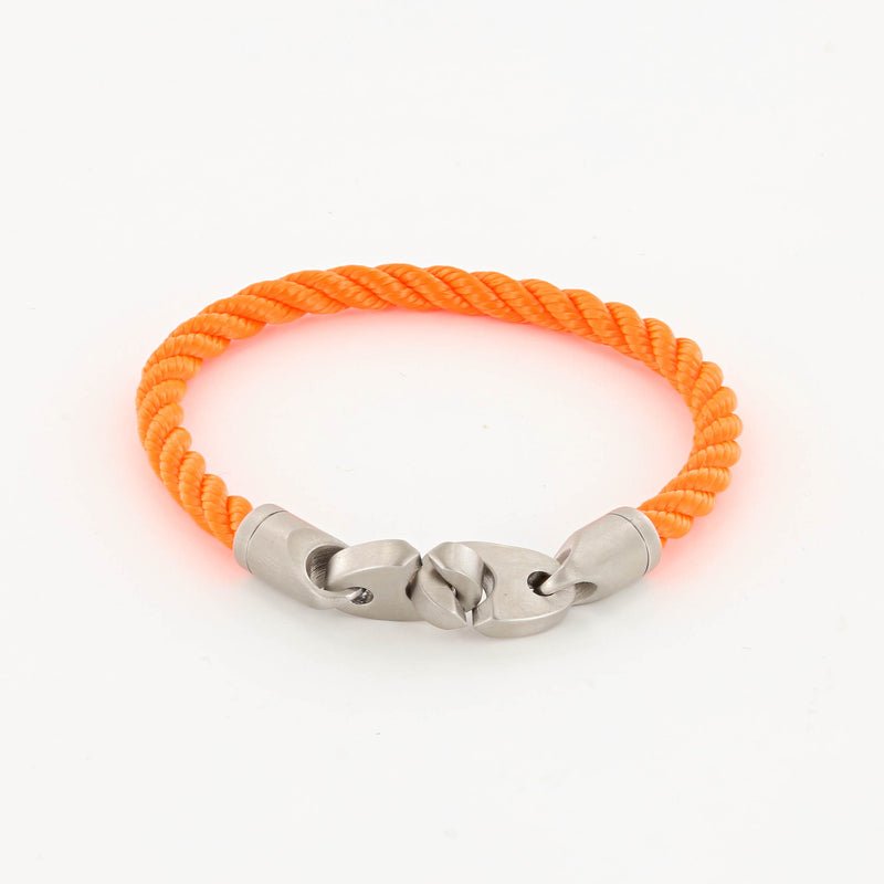 Catch Single Wrap Rope Bracelet with Matte Stainless Steel Brummels in buoy orange
