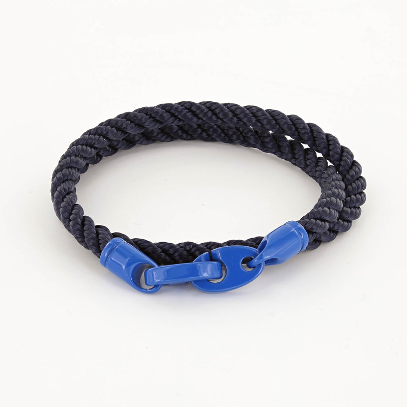 Signal Double Wrap Rope Bracelet with Ocean Blue Powder Coated Brummels and Navy Rope