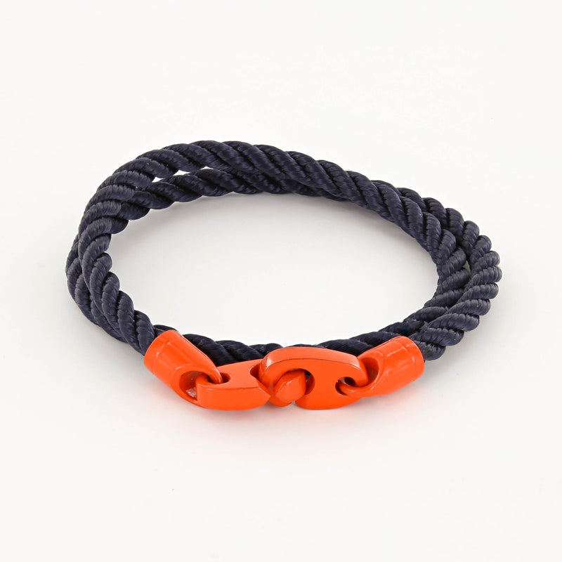 Signal Double Wrap Rope Bracelet with Orange Powder Coated Brummels and Navy Rope