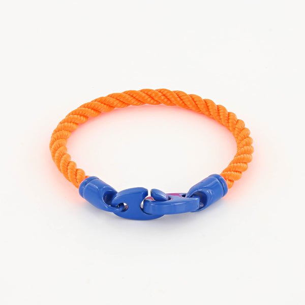 Signal single wrap rope men's bracelet with ocean blue powder coated brummels and buoy orange rope