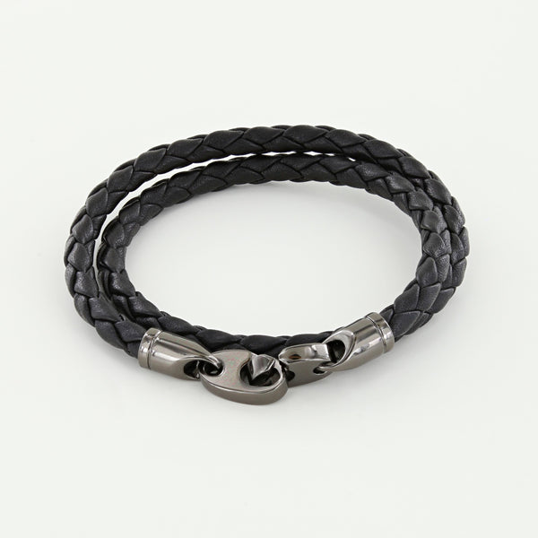 Player Double Wrap Leather Bracelet with Nickel Antique Brummels in Black