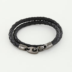 Player Double Wrap Leather Bracelet with Nickel Antique Brummels