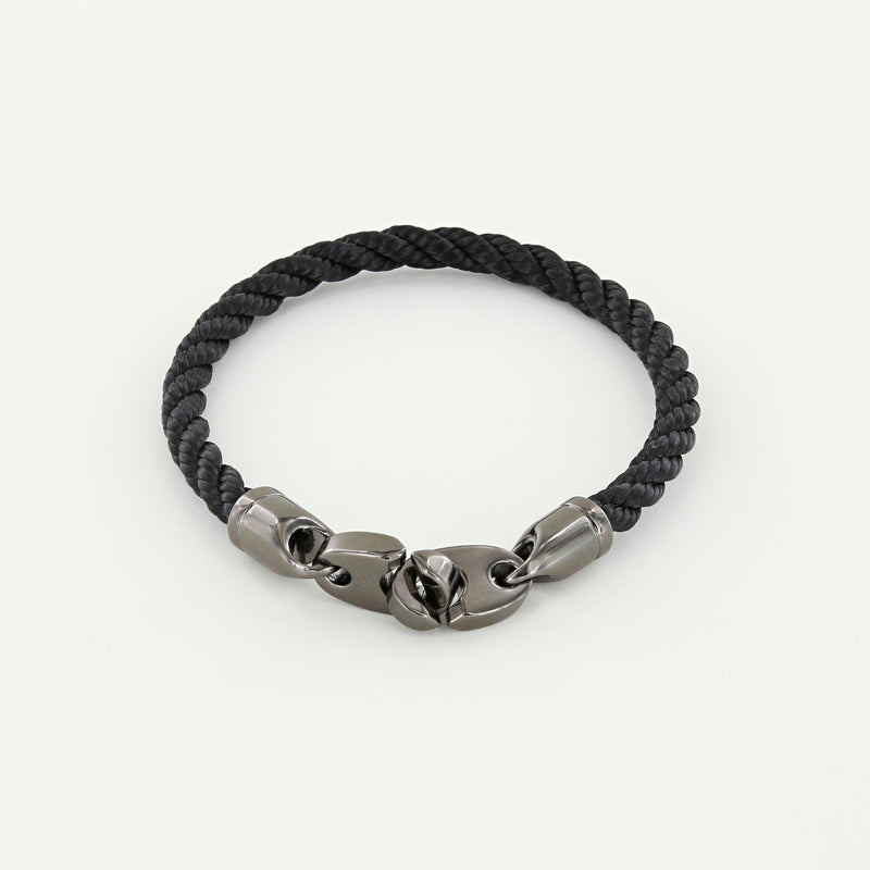 Player Single Wrap Rope Bracelet with Nickel Antique Brummels in Black