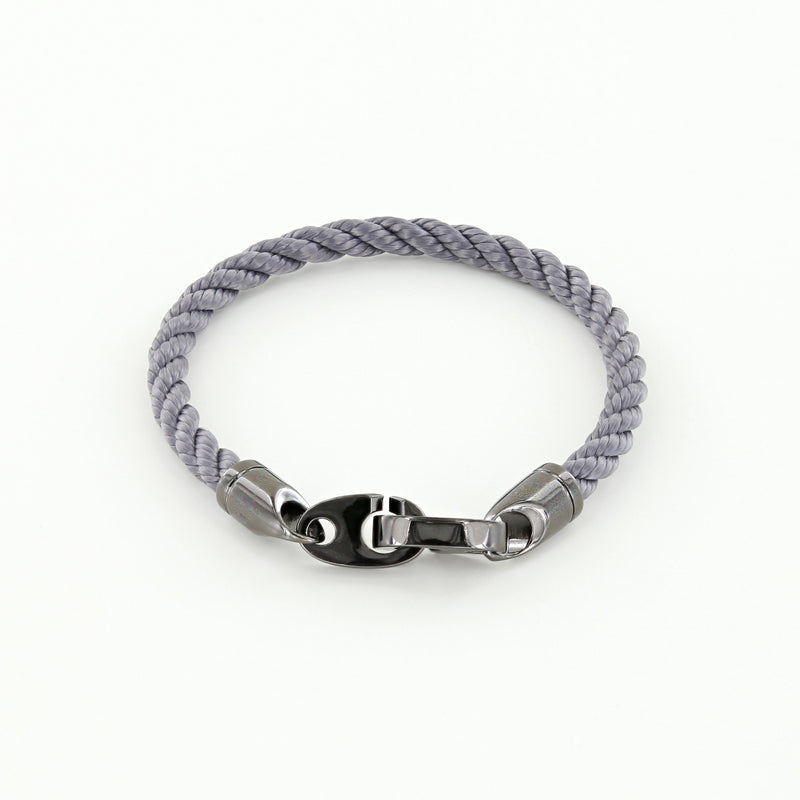 Player Single Wrap Rope Bracelet with Nickel Antique Brummels in Charcoal Gray