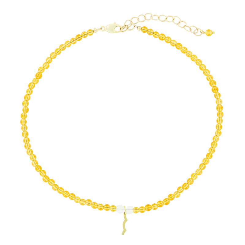 UV Awareness beaded Necklace for sun safety in Citrine