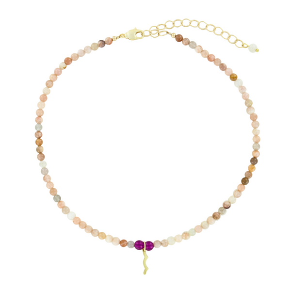 UV Awareness beaded Necklace for sun safety in sunstone