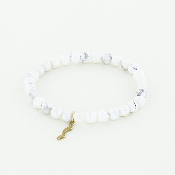 Sun Safety UV Awareness Bracelet 6mm Howlite Rayminder