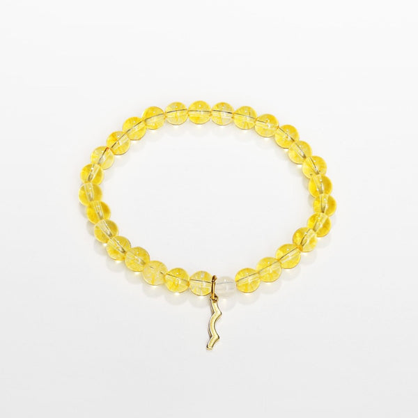 UV awareness beaded beach bracelet for sun safety in citrine