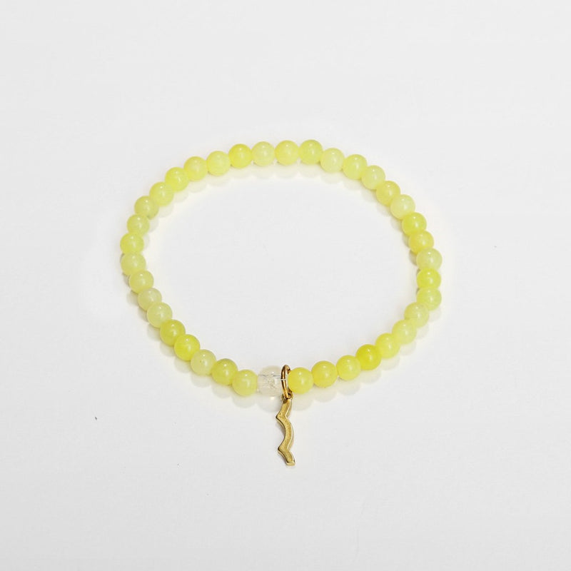 UV awareness beaded beach bracelet for sun safety in lemon jade