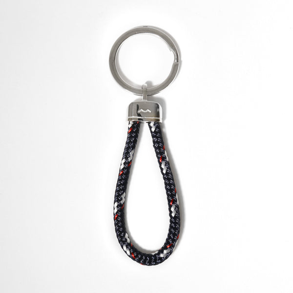 Pete's Point Keychain in Braided Navy/Red/White Rope