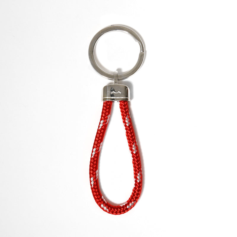 Pete's Point Keychain in Braided Red/White Rope