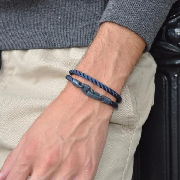 Signal Double Rope Bracelet with Dark Gray Powder Coat Brummels and Navy Rope