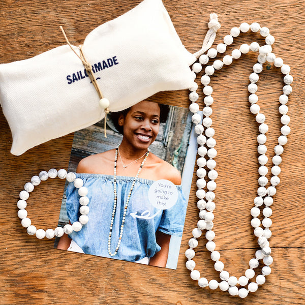 diy beading kit necklace and bracelet in howlite
