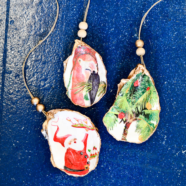 Oyster Shell Decoupage Holiday Ornament Kit in tipsy tropical christmas