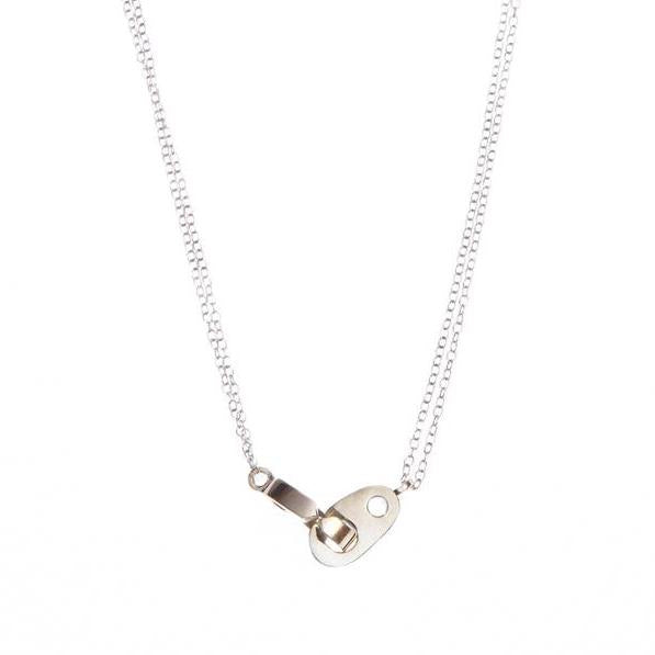 women's double brummel necklace in brass and sterling silver