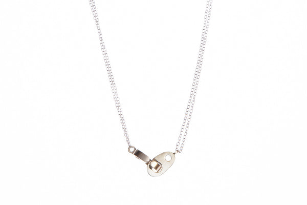 Double Brummel Necklace in Brass with Stainless Steel Chain