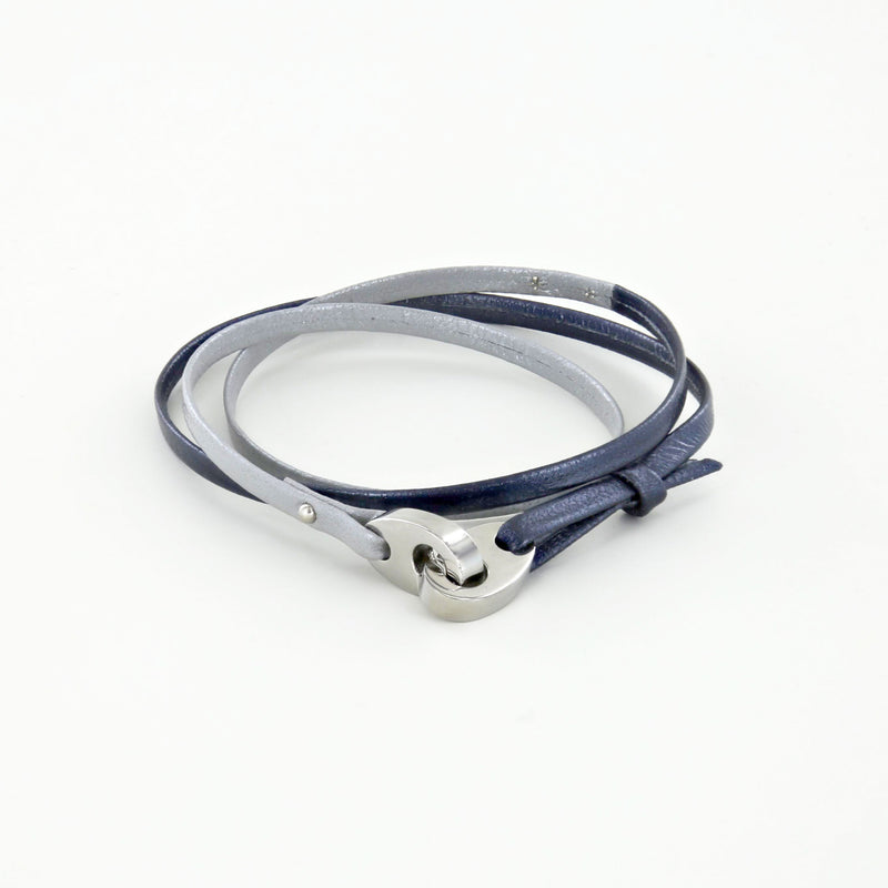 Tandem Leather Bracelet with Polished Stainless Steel Brummels in Blue Storm