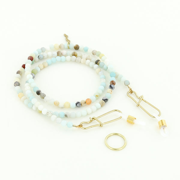 beaded women's mask strap and sunglass retainer beachy amazonite