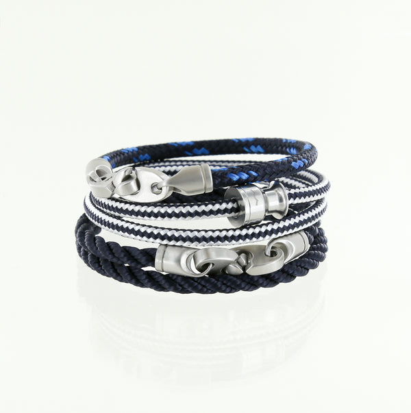 Stainless steel double wrap rope bracelets for sporty men