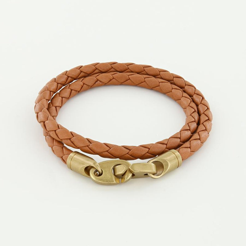 men's journey double wrap leather brummel bracelet