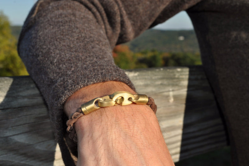 Journey Single Suede Bracelet in Brass and Deep Dark Brown