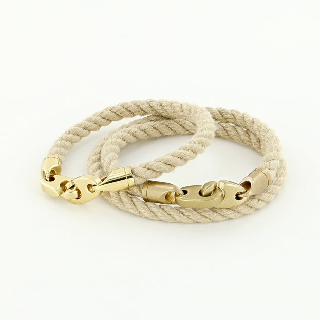 his and her nautical brass brummel rope bracelets in wheat