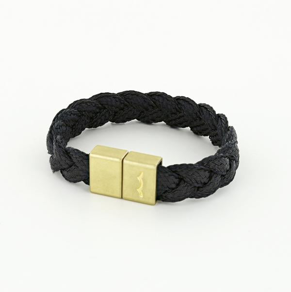 league cotton braided brass magnetic bracelet for men in black