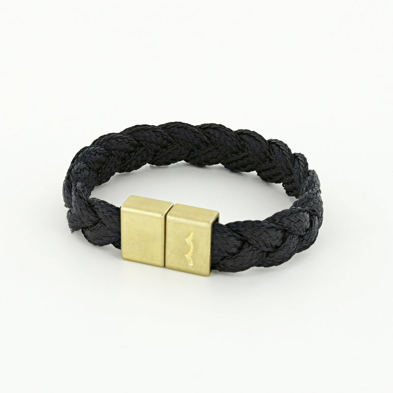 League Bracelet with Black Braid and Magnetic Clasp in Brass