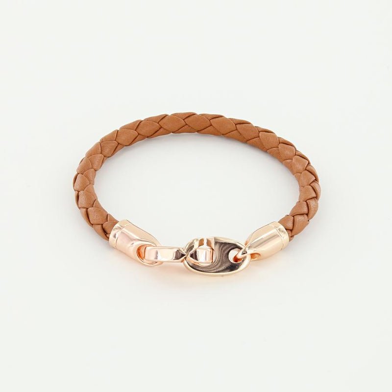 women's rose gold lure nautical leather bracelet with brummels